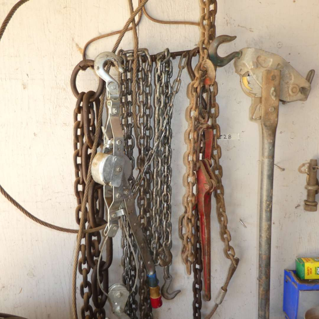 Lot # 28 - Assortment of Chains, Chain breaker, Chains Hoist and Come Along  (main image)
