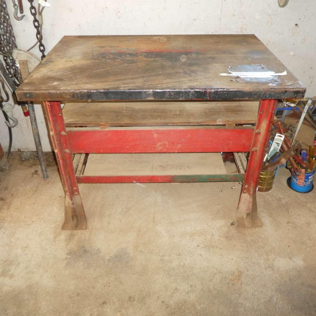 Lot # 32 - Heavy Metal Work Bench w/ Wood Shelves