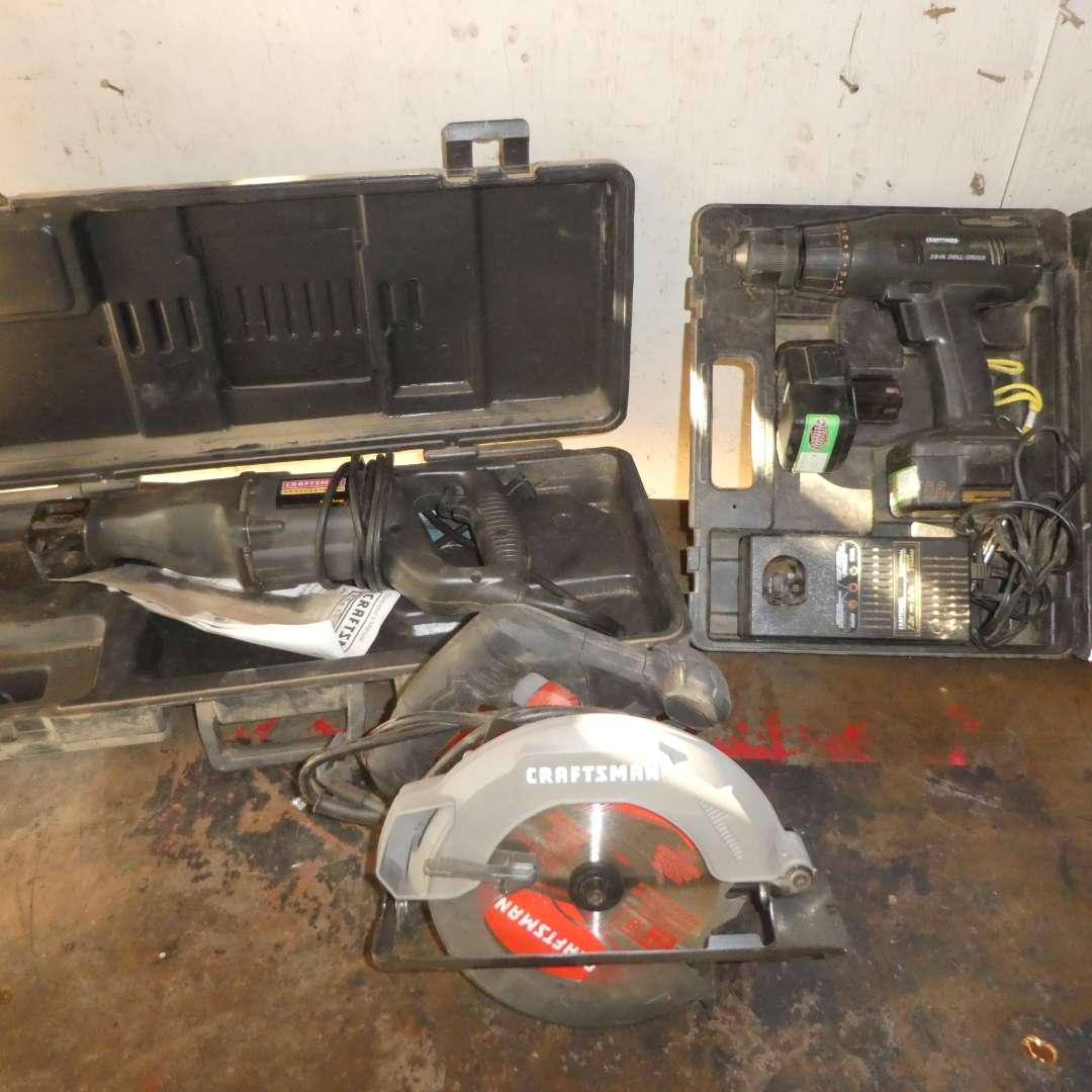 Lot # 33 - Craftsman Power Tools - Skill Saw, Drill and Reciprocating Saw  (main image)