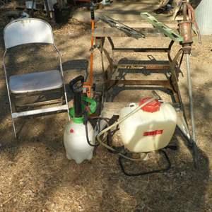 Lot # 36 -  Black & Decker Foldable Work Mate, Backpack Sprayer, 5 Gal Drum Pump,Measuring Wheel and Folding Chair