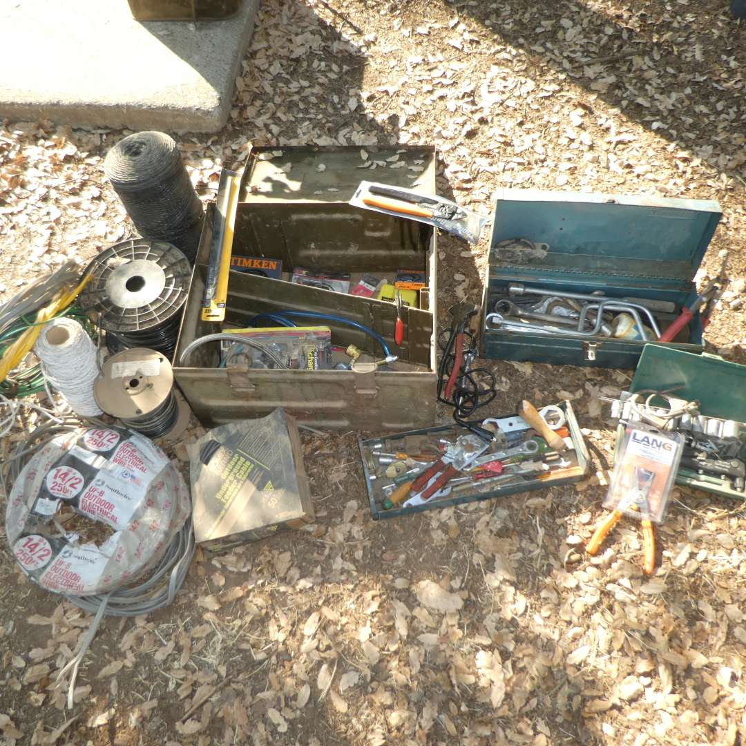 Lot # 37 - Old Barn Tools, Hand Tools & Wire (main image)