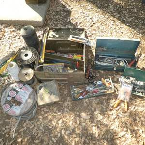 Lot # 37 - Old Barn Tools, Hand Tools & Wire