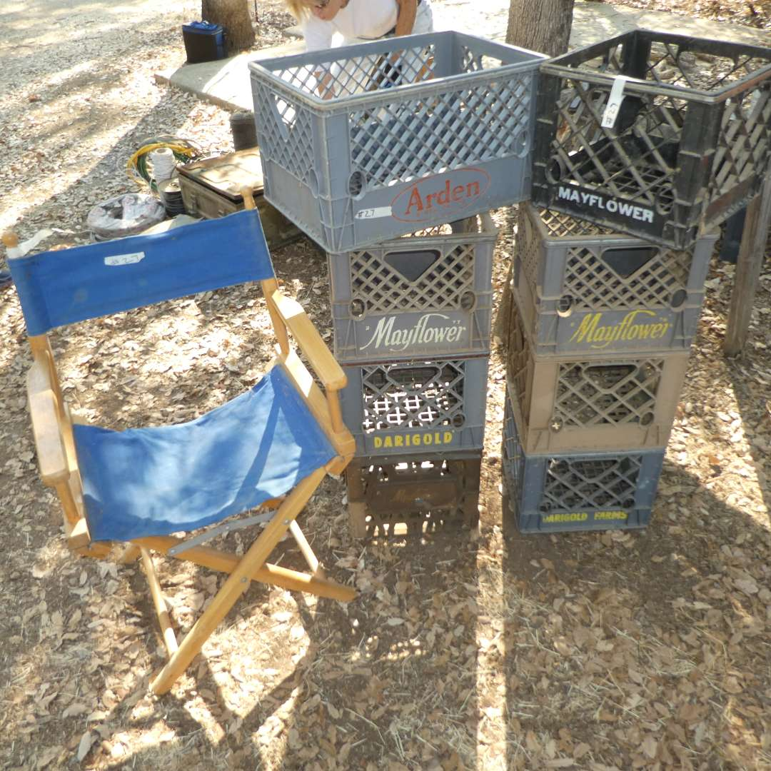 Lot # 27 - Heavy Plastic Milk Crates and Director Style Chair