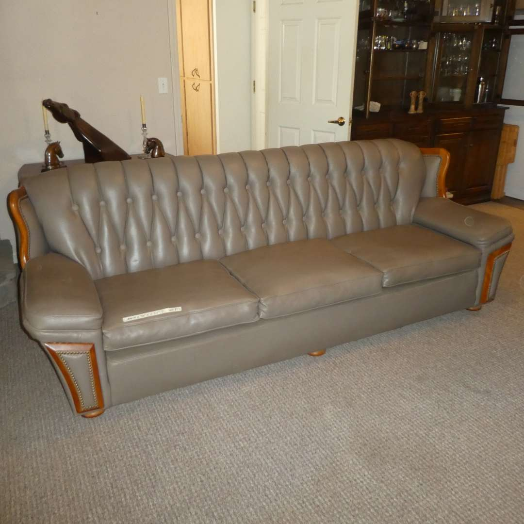 Lot # 200 - Nice Large Naugahyde Sofa w/ Tufted Back and Wood Detail (Great Condition)