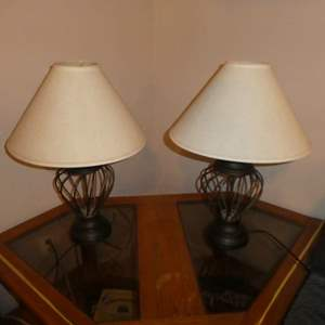Lot # 201 - Two Matching Table Lamps w/ Metal Base (Both Work)