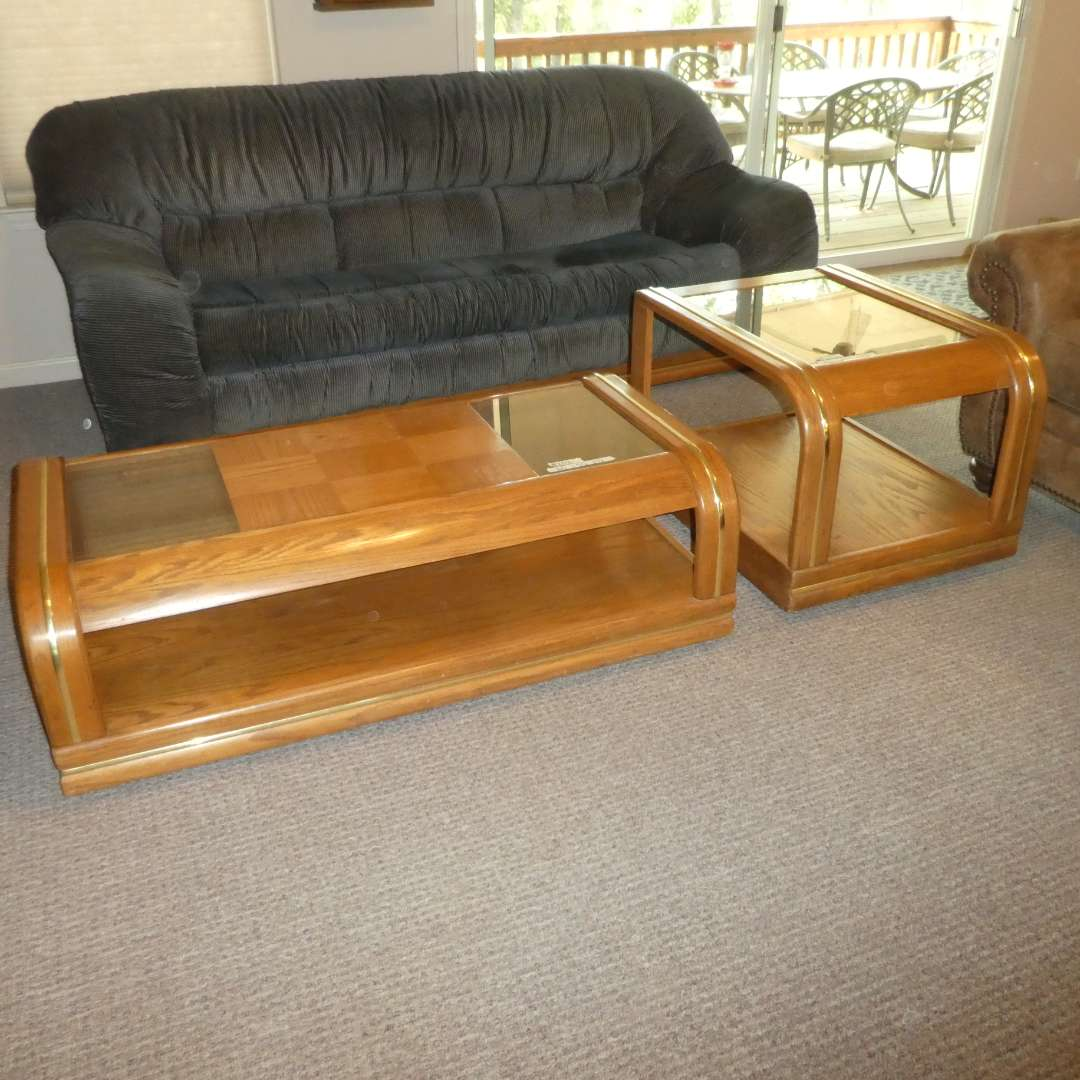 Lot # 202 - Solid Wood Coffee Table (On Wheels) and Side Table w/ Glass Top and Chrome/ Gold Detail  (main image)