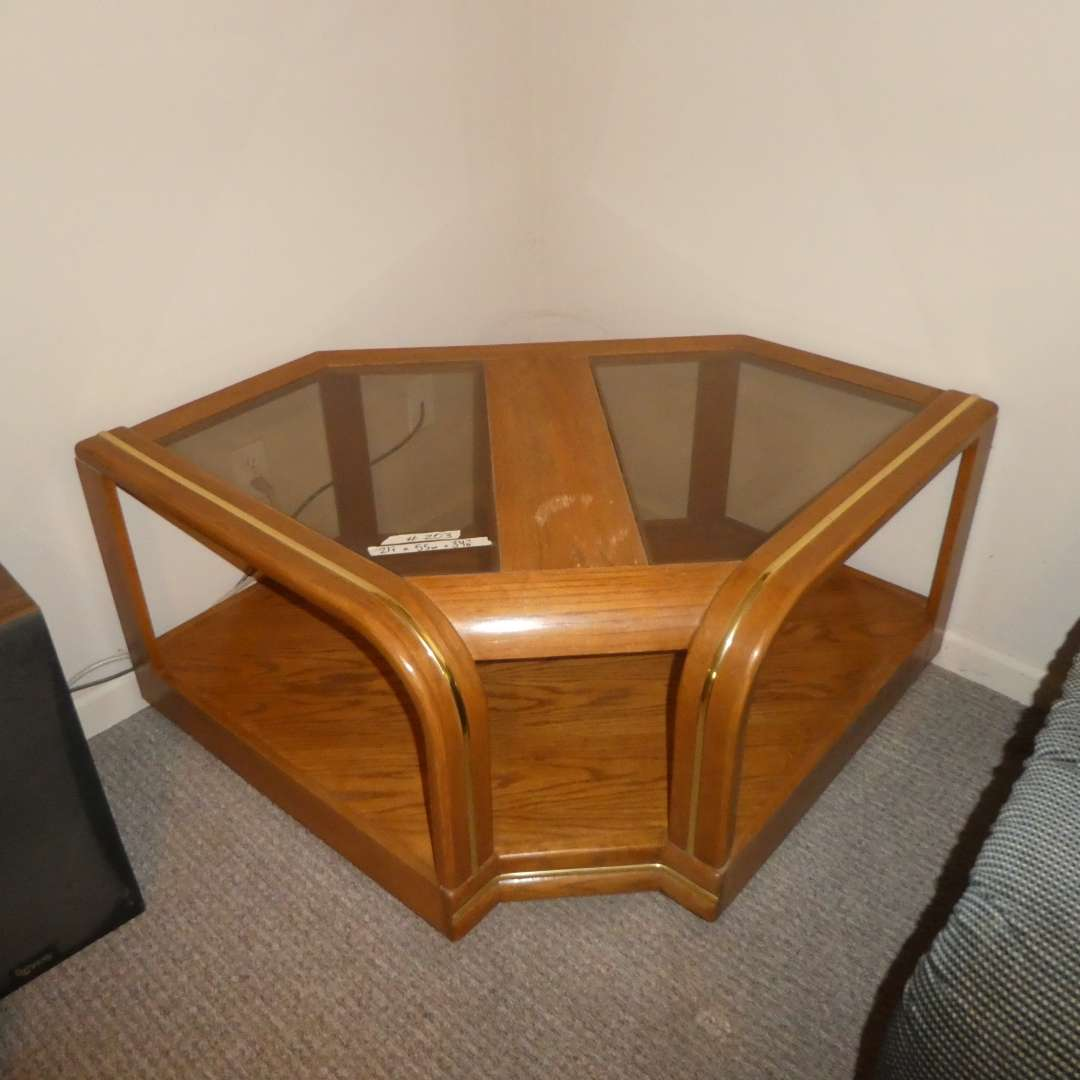 Lot # 203 - Solid Wood Corner Side Table w/ Glass Top and Chrome/ Gold Detail  (main image)