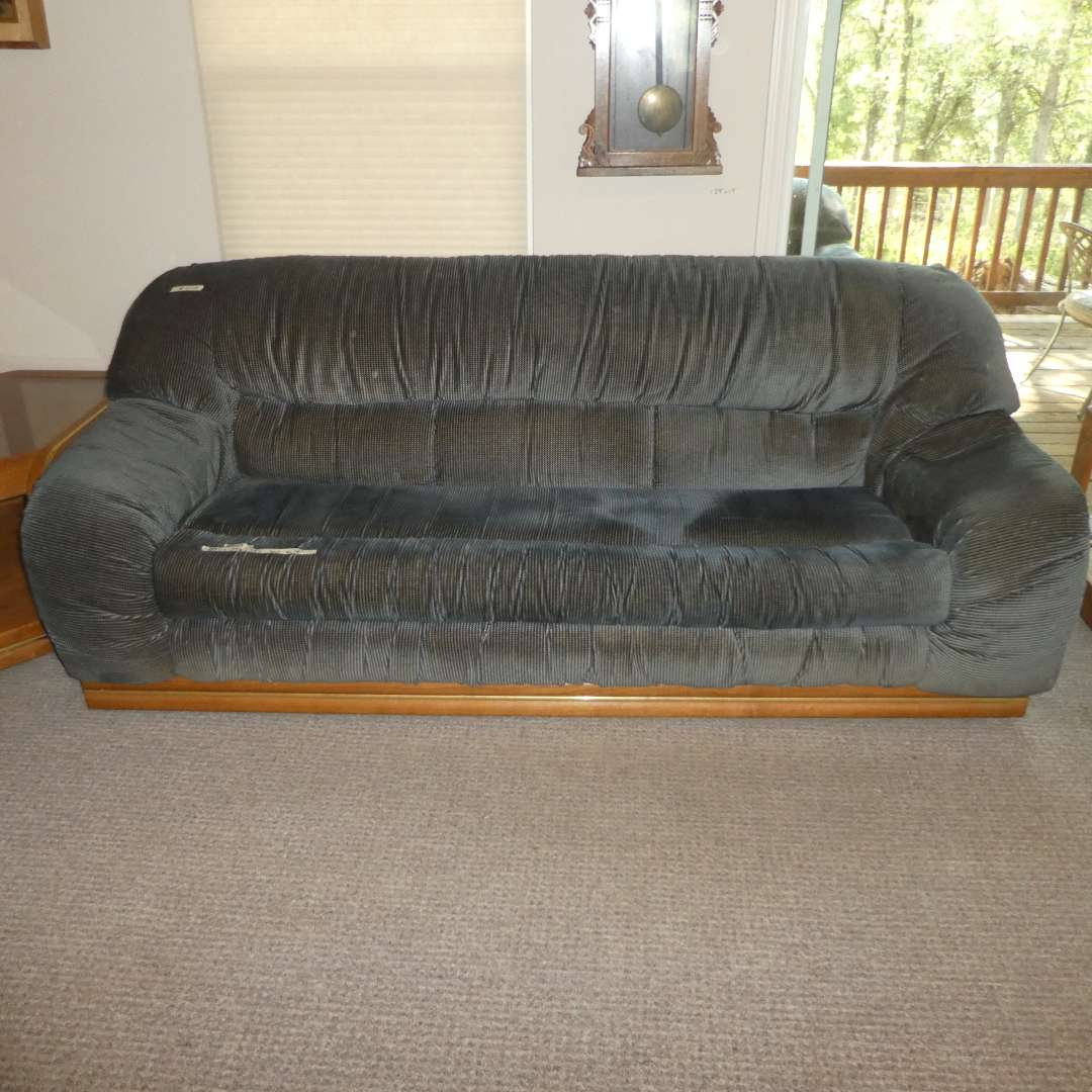 Lot # 204 - Sofa Sleeper and Love Seat w/ Wood Detail and Chrome/ Gold Detail (main image)