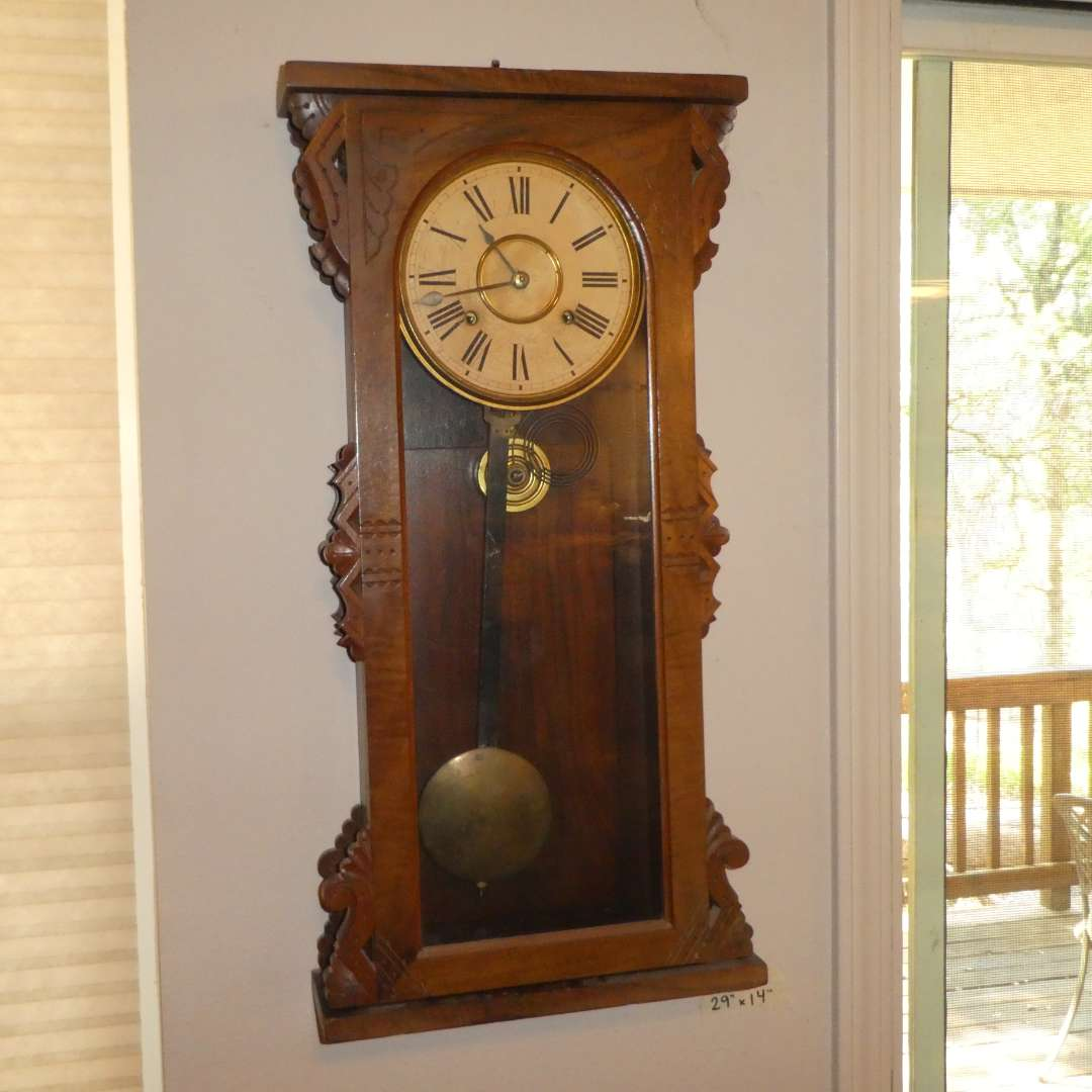 Lot # 205 - Antique Eastlake Style Wall Clock - Running  (main image)