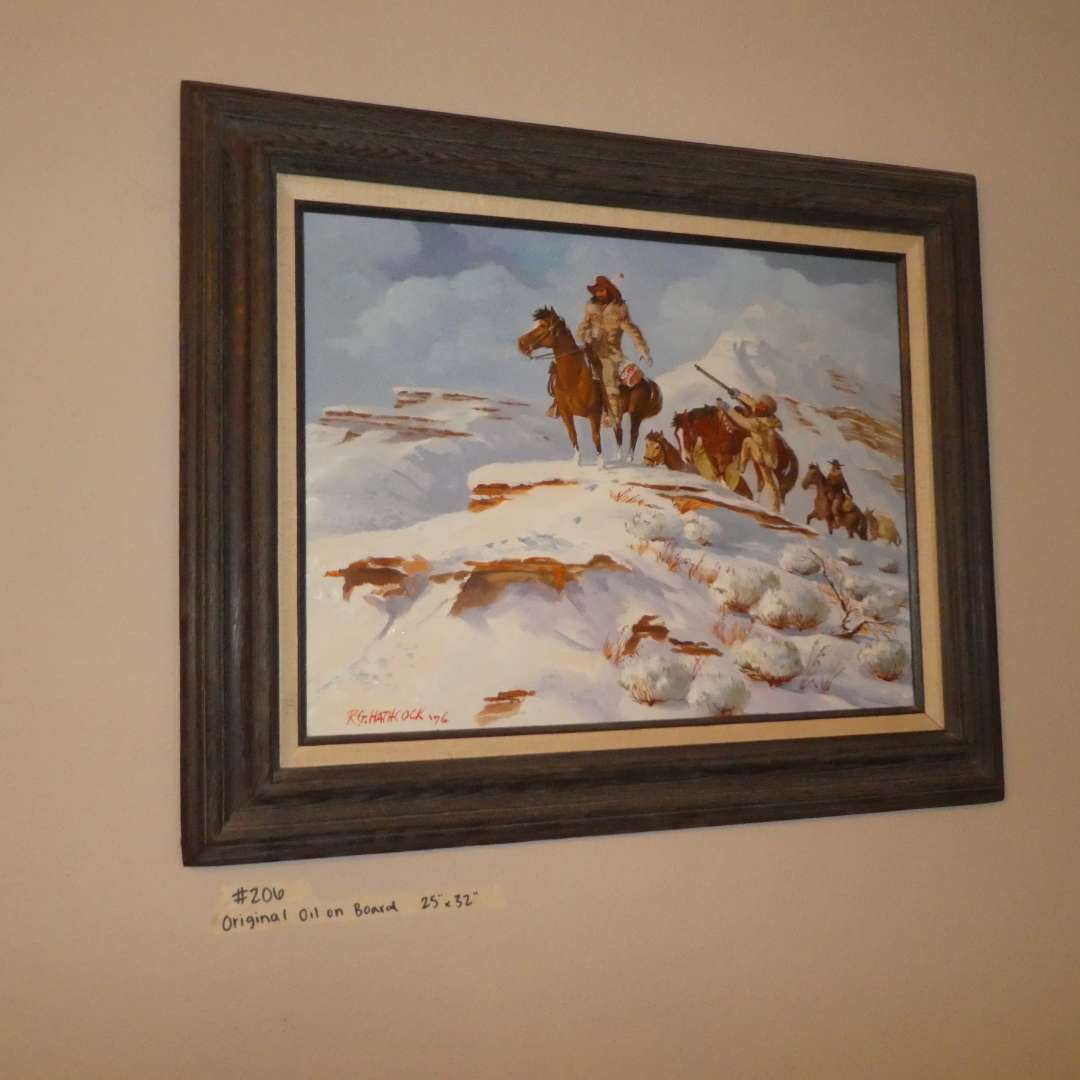 """Lot # 206 - Frame Original Oil On Board """"When Game Is Sighted  (main image)"""