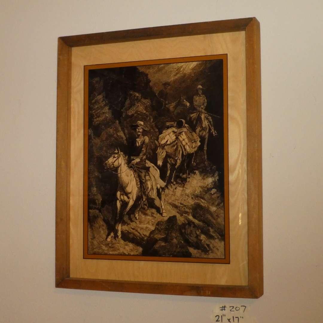 """Lot # 207 - Framed Lucid Lines On Glass """"Fredrick Remington"""""""