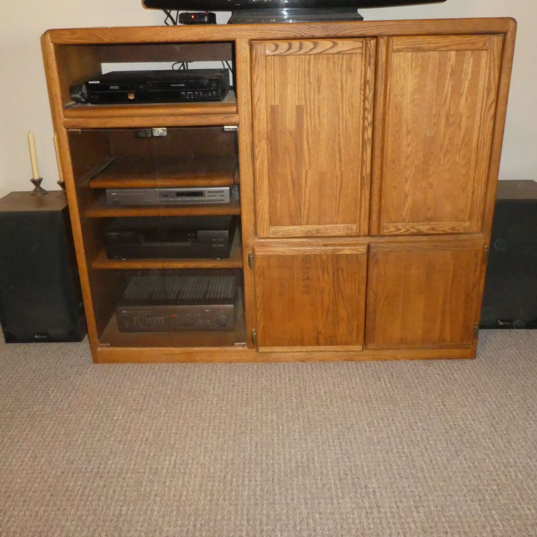 Lot # 210 - Solid Wood Entertainment Center (Contents NOT Included/ Shelf Only)