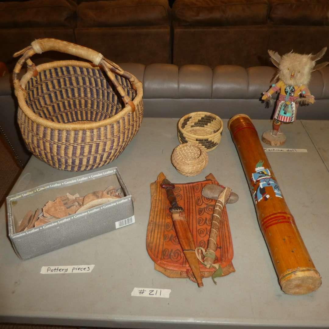 Lot # 211 - Indian Baskets, Kochina Doll, Rain Stick, Handmade Knife/ Hammer and Pottery Pieces