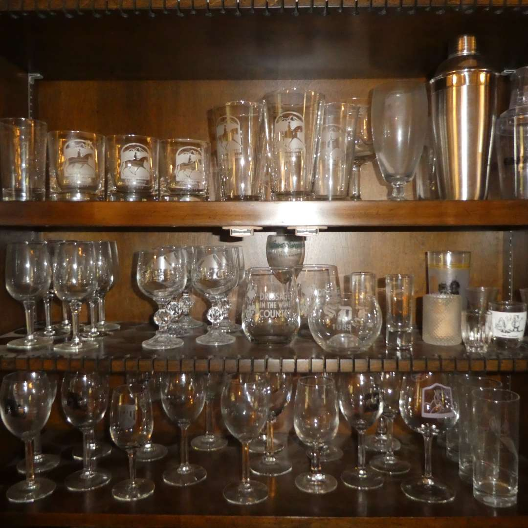 Lot # 213 - Large Lot of Glass Stemware, Bar Glasses, Shakers and Shot Glasses