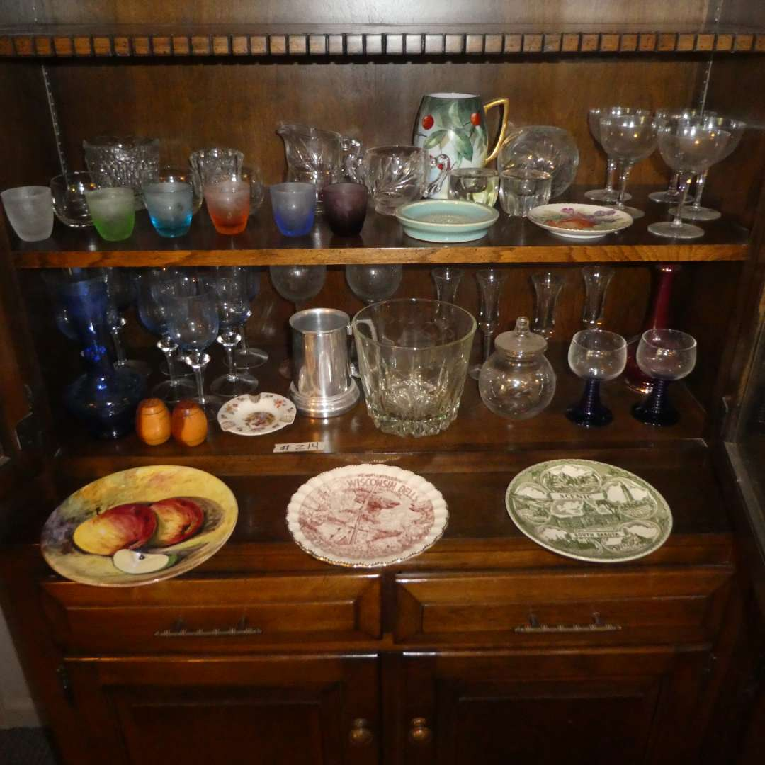 Lot # 214 - Vintage Glass Stemware, Colored Shot Glasses, Collectible Plates And More