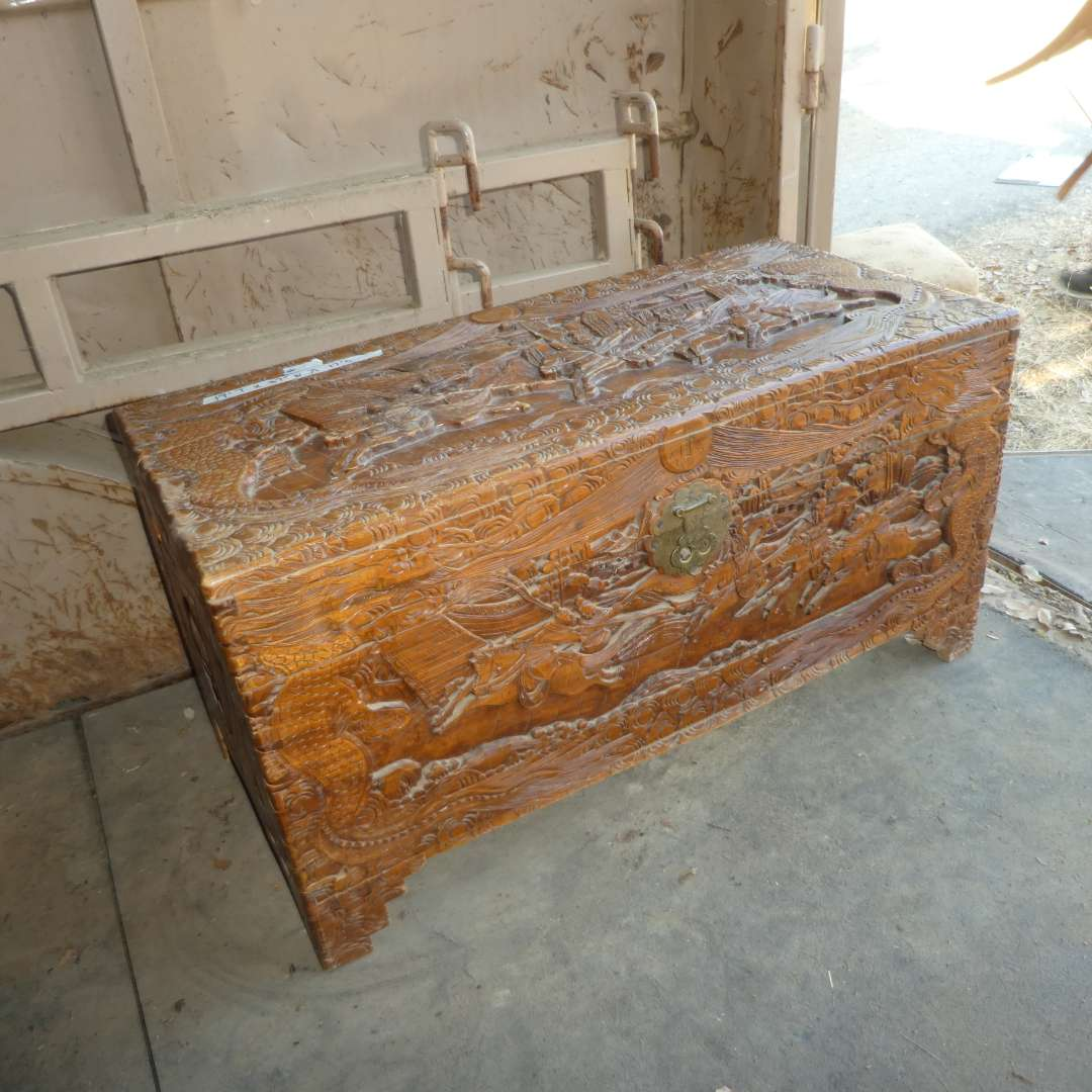 Lot # 44 - Heavily Carved Chinese Wooden Chest  (main image)