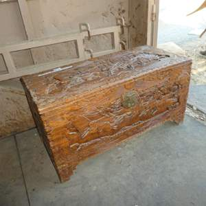 Lot # 44 - Heavily Carved Chinese Wooden Chest