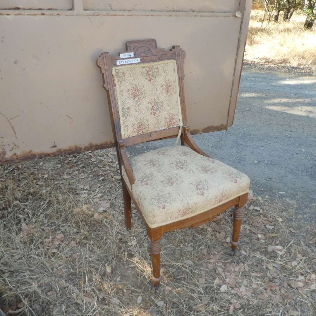 Lot # 46 -  Vintage East Lake Style Chair (Front Legs Have Wooden Casters) (main image)