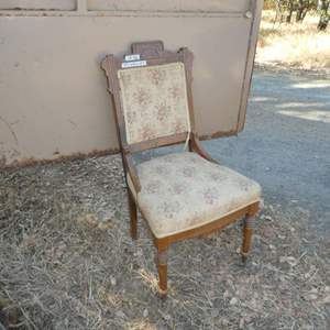 Lot # 46 -  Vintage East Lake Style Chair (Front Legs Have Wooden Casters)
