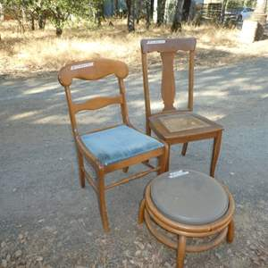 Lot # 47 -  Two Vintage Chairs and A Small Rattan Stool