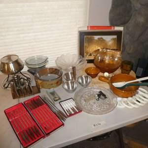 Auction Thumbnail for: Lot # 216 - Vintage Lot -- Fondu Pot w/ Forks, Pyrex, Severing Platter, Amber Bowls, Pimpernel Placemats and More