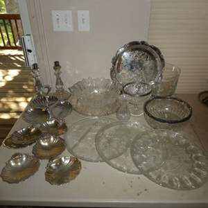 Lot # 217 - Vintage Serving Platers, Bowls, Shell Snack Dishes and More
