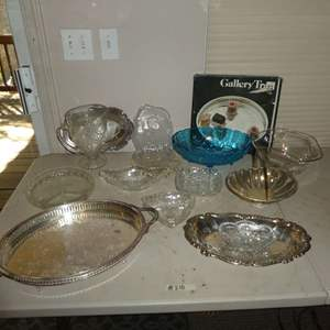 Lot # 218 - Vintage Silver and Glass Serving Platers, Bowls and More