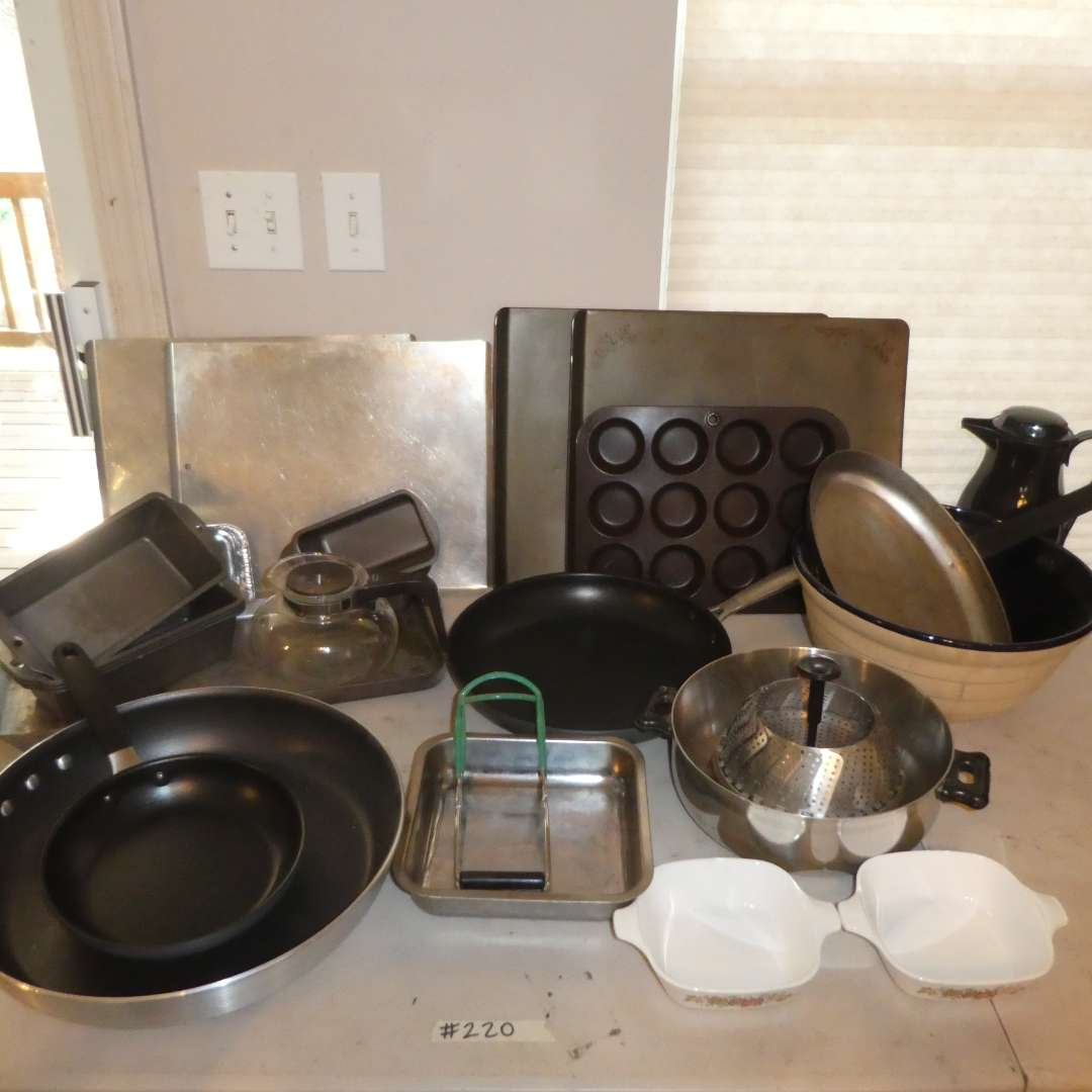 Lot # 220 - Various Sizes of Skillets, Baking Sheets, Bread Pans and More! (main image)