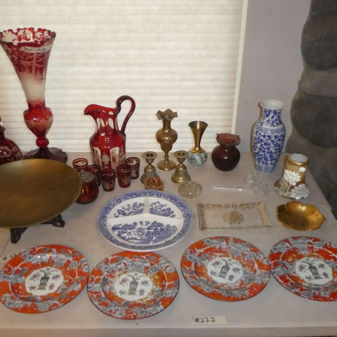 Lot # 222 - Vintage Glassware, Oriental China Plates & Brass