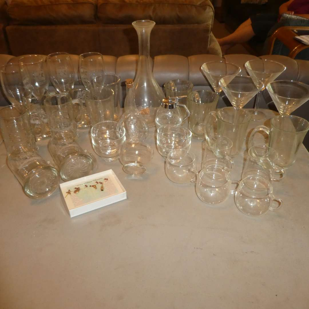 Lot # 225 - Assortment of Glass Cups and Stemware