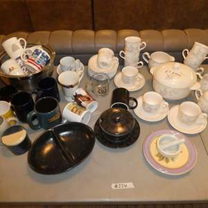 Lot # 226 - Variety of Coffee Mugs, Silver Nesting Bowls and 27 pcs of Keltcraft By Noritake Dishes