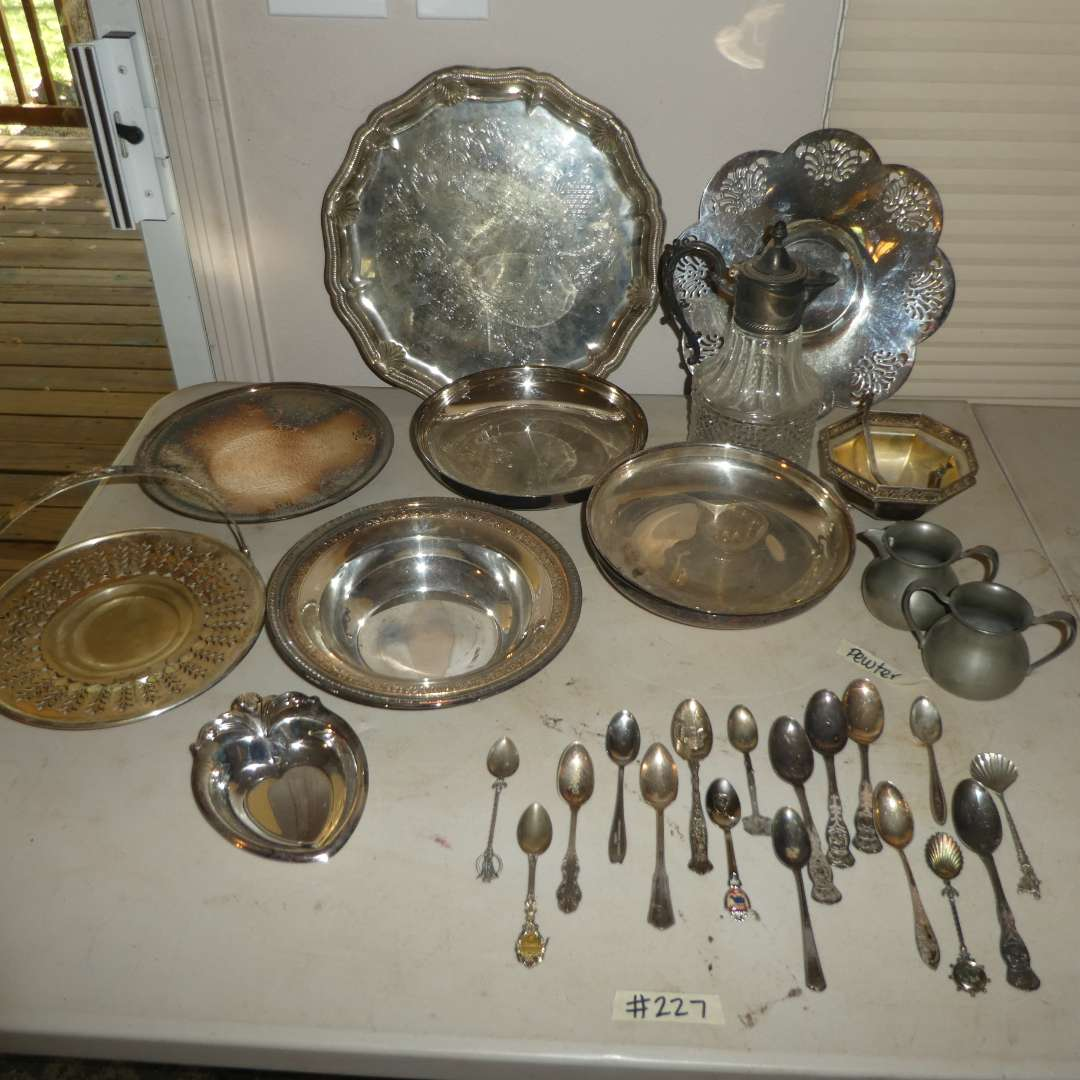 Lot # 227 - Silver Plated Serving Platter, Bowls, Spoons and Pewter Cream and Sugar Set   (main image)