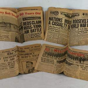 Lot # 2 - 4 Old Newspapers From 1908, 1919, 1945 and 1950