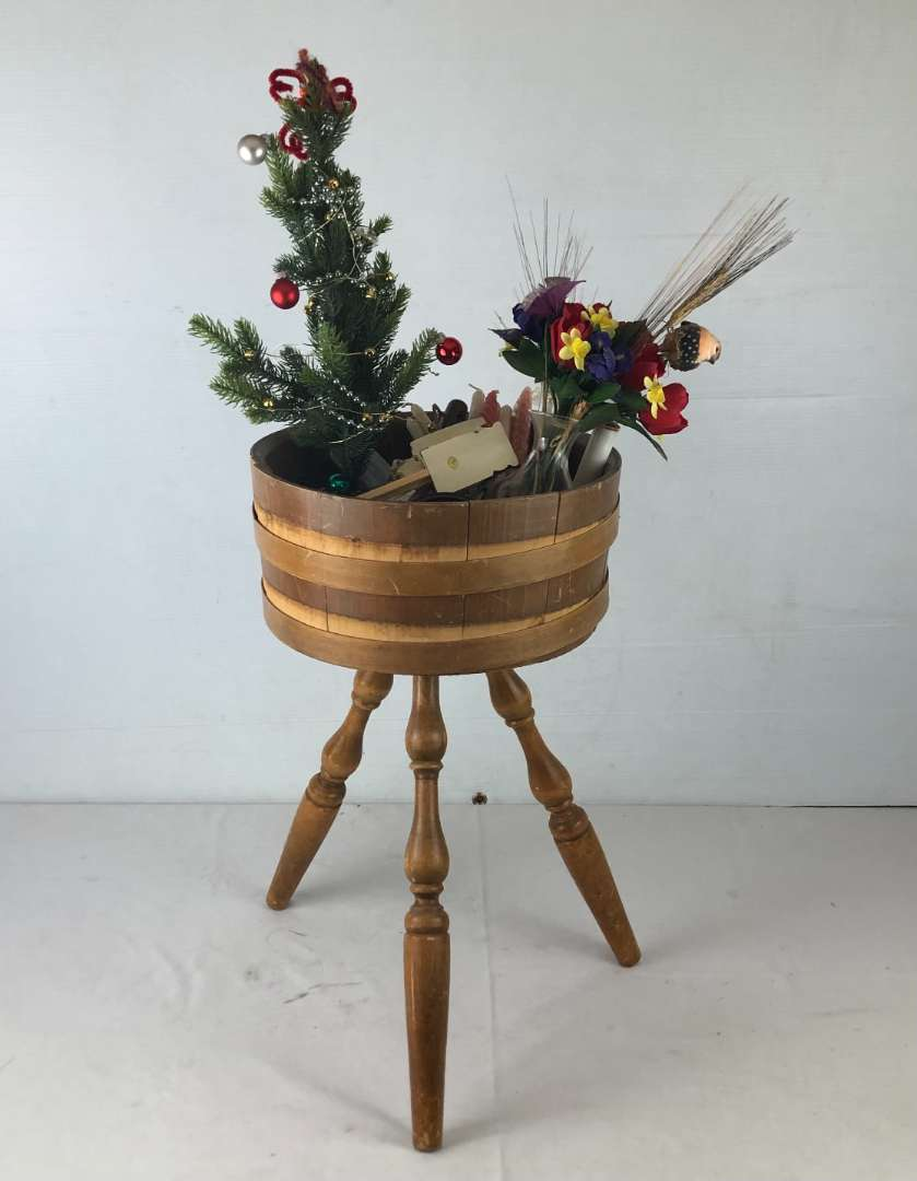 Lot # 13 - Vintage Barrel Table and Various Items (main image)