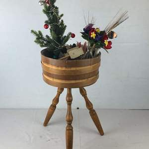 Lot # 13 - Vintage Barrel Table and Various Items