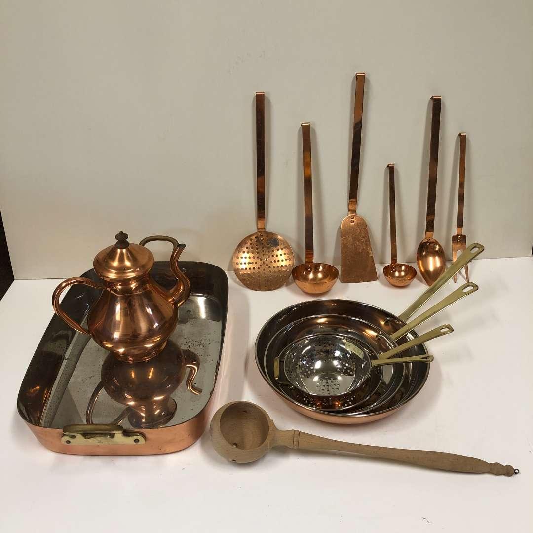 Lot # 17 - Copper Collection - Utensils, Pans, Teapot, Casserole pan (main image)