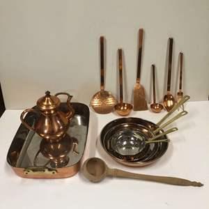 Lot # 17 - Copper Collection - Utensils, Pans, Teapot, Casserole pan