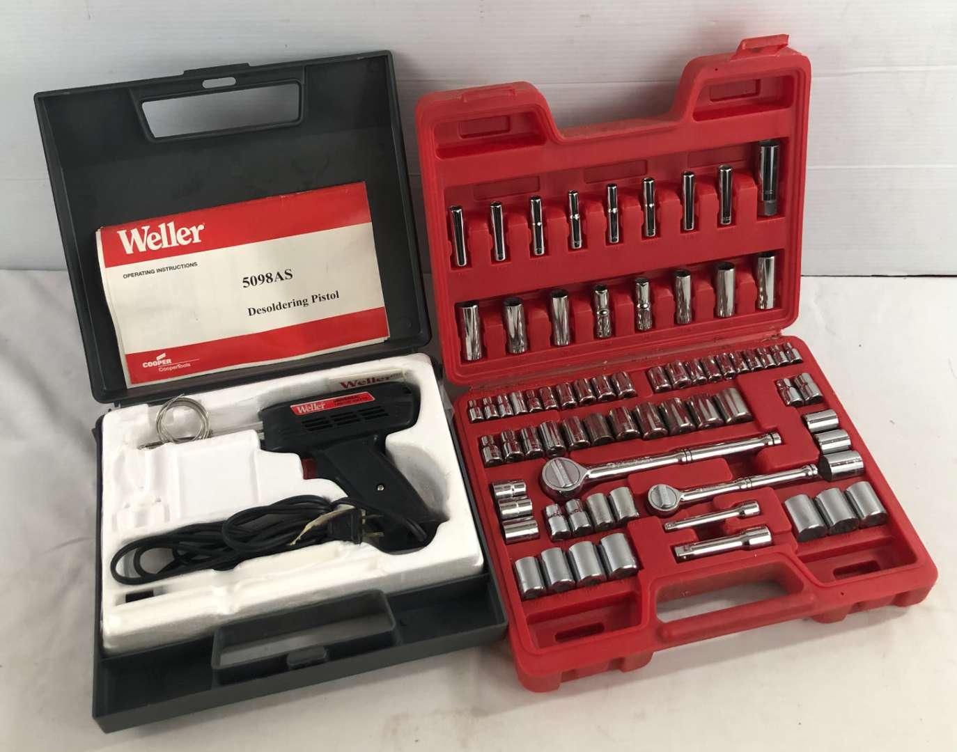 Lot # 39 - Socket Set and Weller Desoldering Pistol (main image)