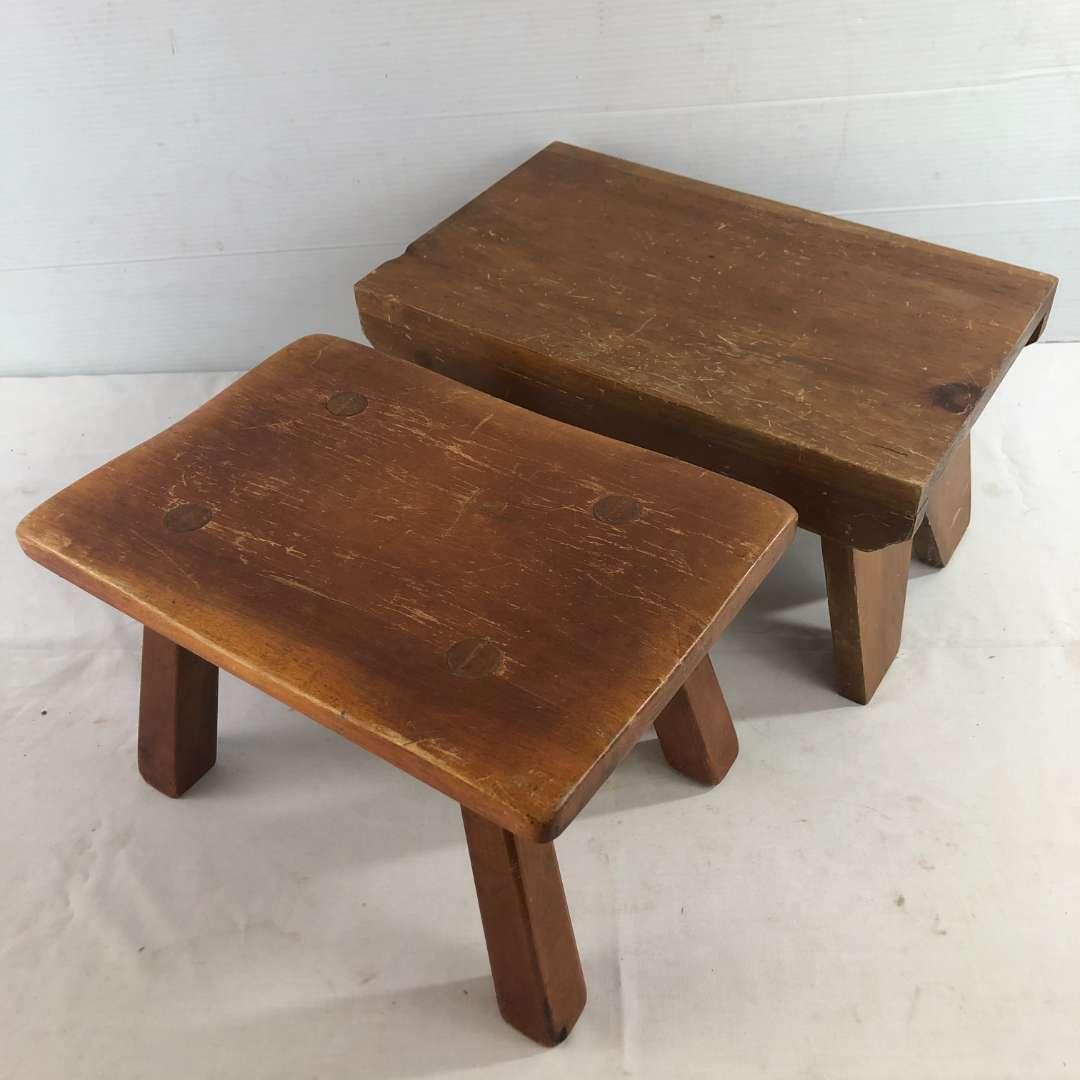 Lot # 44 - 2 Vintage Wood Stools  (main image)
