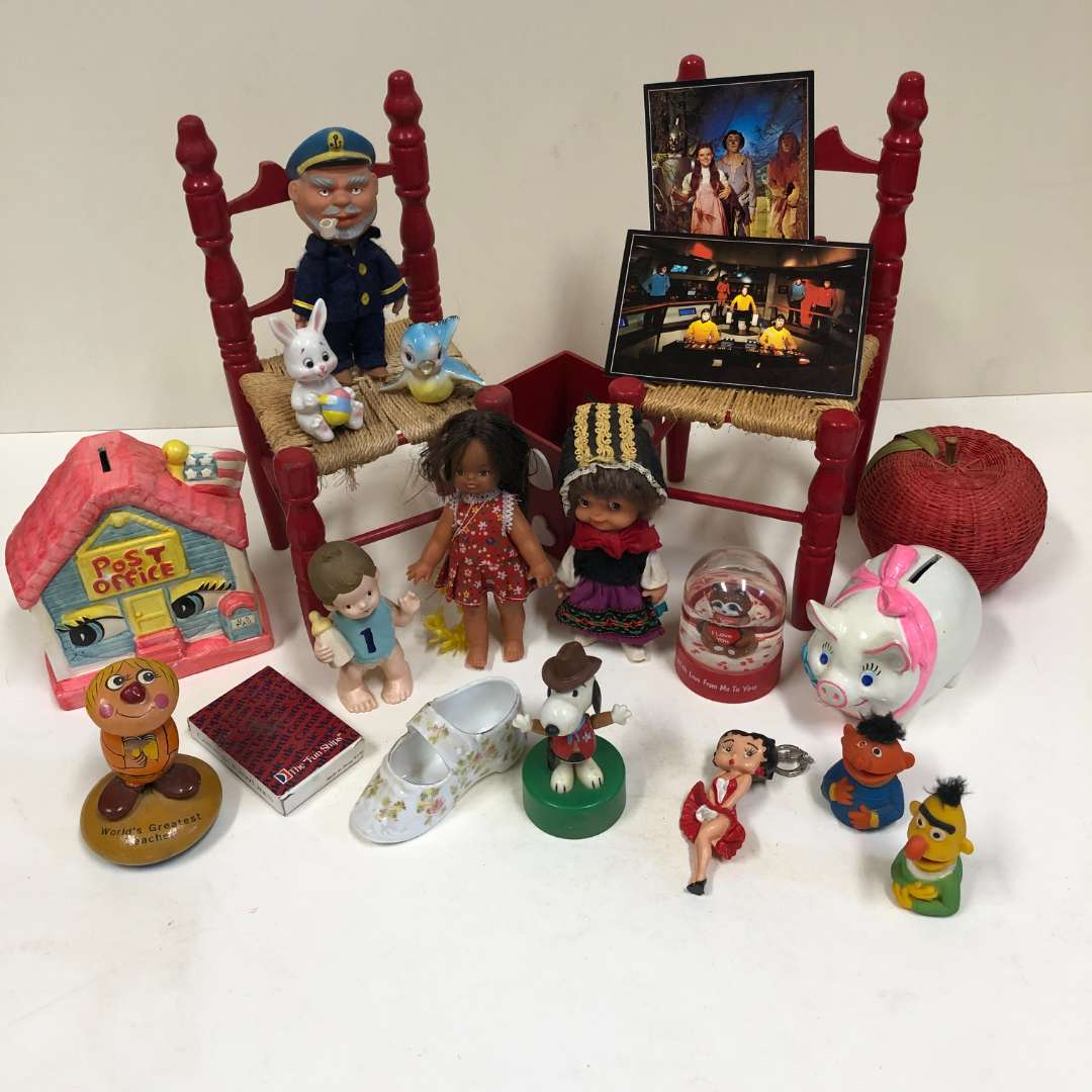 Lot # 22 - Finger Puppets, Doll chairs, small vintage dolls, etc. (main image)