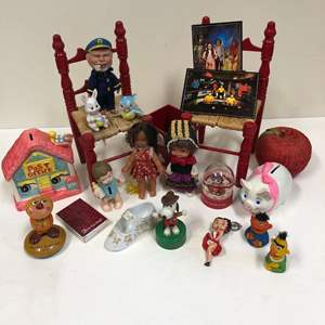 Lot # 22 - Finger Puppets, Doll chairs, small vintage dolls, etc.