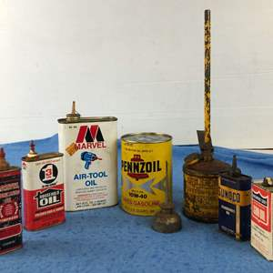 Lot # 62 - Lot of Vintage Oil Cans/Containers