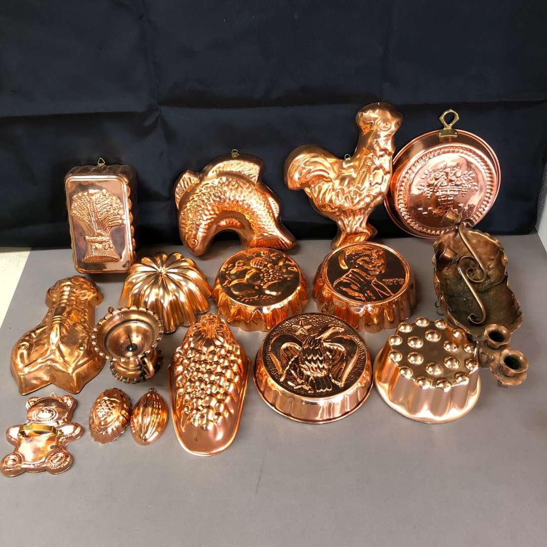 Lot # 77 - Large Lot of Vintage Copper Clad Molds (main image)