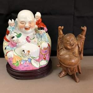 Lot # 78 - 2 Ho Tai Laughing Buddha Statues