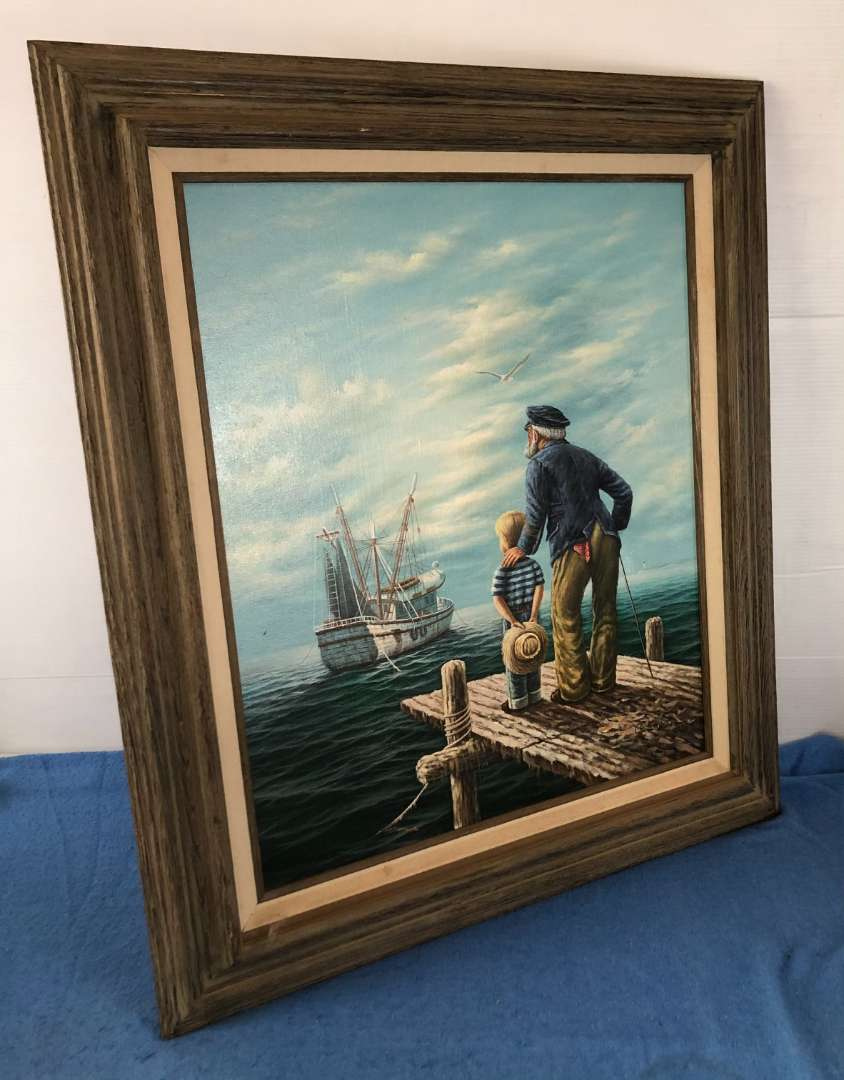 Lot # 66 - Framed Painting of Sailor, Boy and Fishing Boat by Giuliano (main image)
