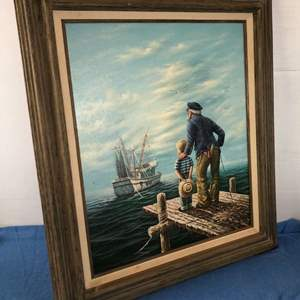 Lot # 66 - Framed Painting of Sailor, Boy and Fishing Boat by Giuliano