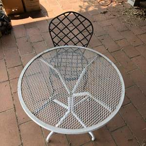 Lot # 85 - Vintage Metal Patio Table and Metal Chair