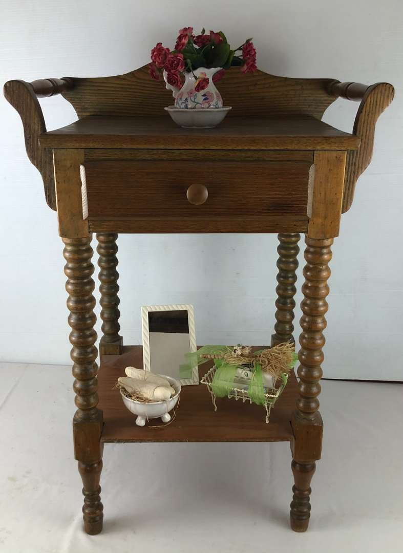 Lot # 146 - Vintage Side Table with Drawer + Extras (main image)