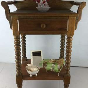 Lot # 146 - Vintage Side Table with Drawer + Extras
