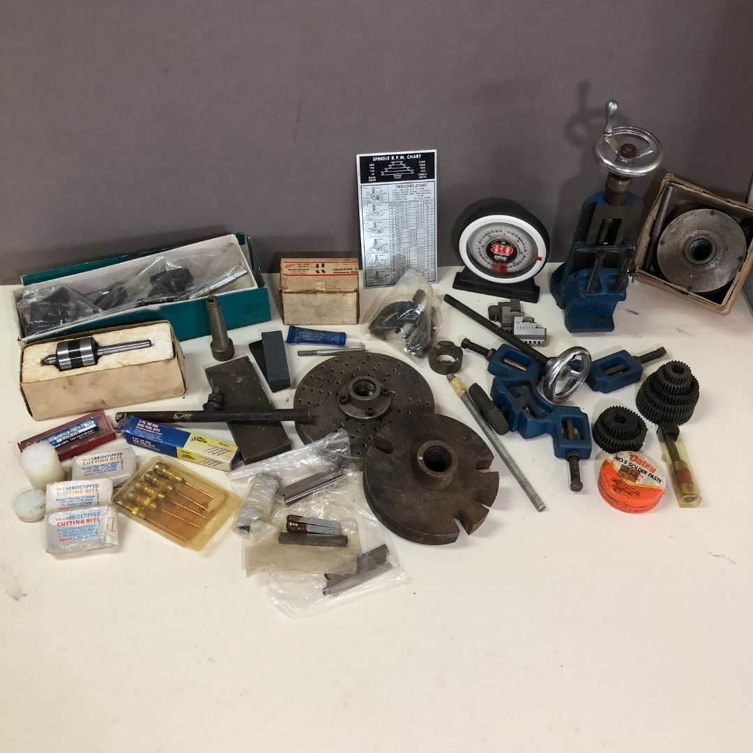 Lot # 198 - Lot of Various Lathe Milling and Cutting Tools and Parts (main image)